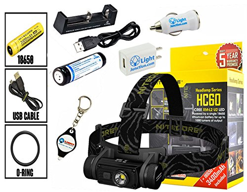 Nitecore HC60 Cree XM-L2 U2 LED Rechargeable Headlamp 1000 Lumens w/ EXTRA 18650, MC1 Charger, USB Wall and USB Car Charger Plug and Lightjunction Keychain Light