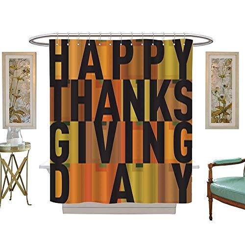 Fabric Shower Curtain Vector thanksgiving decoration lettering postcard invitation card design harvest november background illustration. Mildew Resistant Waterproof Standard Shower W108 x H72 Inch