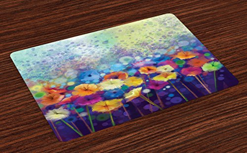 Lunarable Spring Place Mats Set of 4, Abstract Floral Petals in Misty Tones Daisy Gerbera Dandelion Blossom Meadow Paint, Washable Fabric Placemats for Dining Room Kitchen Table Decor, Purple Mint