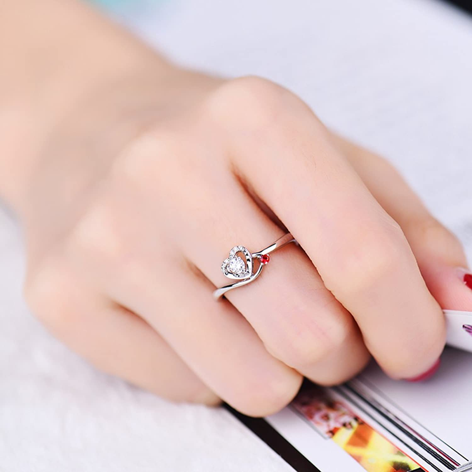 18K White Gold Natural Diamond Engagement Ring With 1.8mm Round Ruby ...