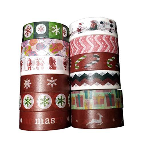 Leo's Choice 1.5cmX7m Colorful Christmas Washi Tape 12 Rolls