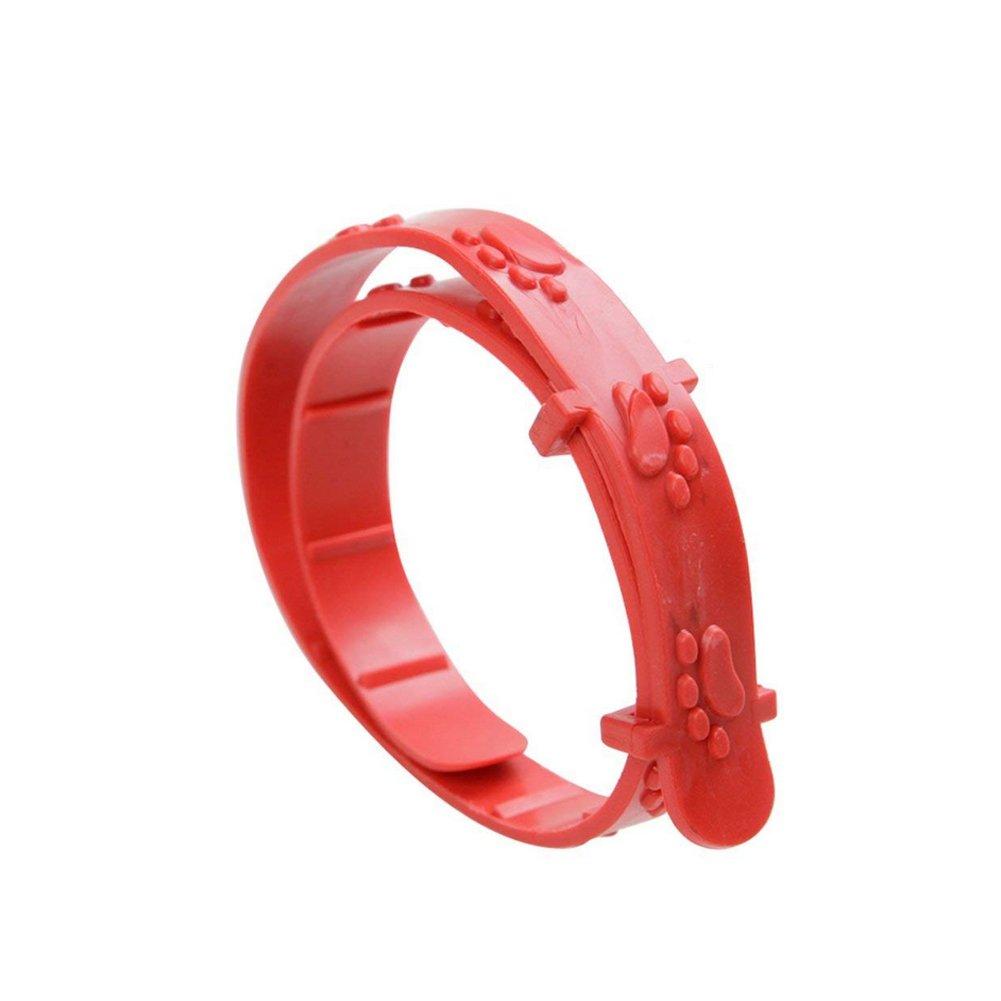 Nicedeal Hundehalsband, verstellbar, gegen Flö he und Milben, fü r Acari-Zecken, Rot