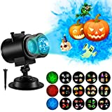 Comlife Halloween Light Projector, 2 in 1 Ripple Ocean Light with 12 Slides Patterns, Waterproof Outdoor/Indoor Landscape Decoration Lighting for Christmas, Halloween, Birthday Party