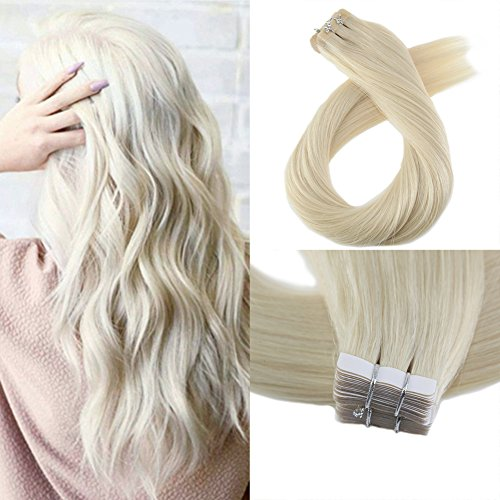 Moresoo 20 Inch Tape in Remy Human Hair Extensions Seamless Skin Weft 40 Pieces 100 Grams #60 Platinum Blonde Adhesive Hair Extensions Tape on Hair Extensions ()