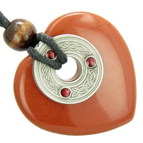 - Celtic Triquetra Knot Protection Amulet Jasper Heart Pendant Necklace