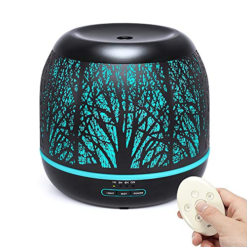 Bligli 500ml Essential Oil Diffuser, Ultrasonic Aroma Metal Humidifiers Remote Control with 7 Color LED Lights, Waterless Auto Shut-Off, 4 Time Modes for Office, Bedroom and Baby