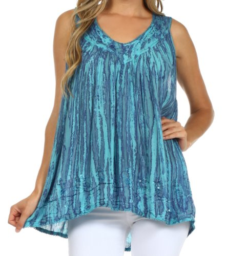 Sakkas 62531 Boho Love Sleeveless Blouse - Turquoise - One Size (Sleeveless Top Turquoise)