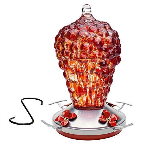 Best Home Products Hummingbird Feeder BLOWN GLASS, Wild Raspberry, 16 ounces