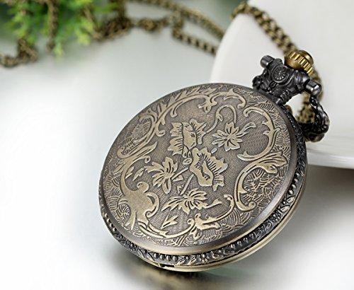 JewelryWe Retro Vintage Pocket Watch Bronze Eiffel Tower Quartz Pocket Watch Necklace Pendant Birthday Gift by Jewelrywe (Image #4)