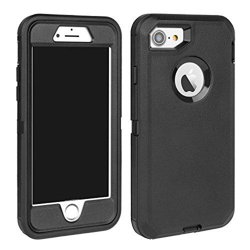 Apple Iphone Aluminum Case - MAXCURY for iPhone 7 Case, iPhone 8 Case, Strong Durable Heavy Duty Shockproof Case for iPhone 7/8 (4.7 inch) with Built-in Screen Protector Without Belt Clip (Black)