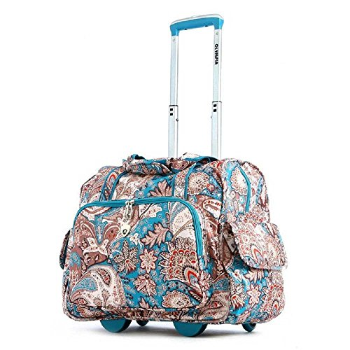 (Olympia Deluxe Fashion Rolling Overnighter, Duffel Bag in Paisley)