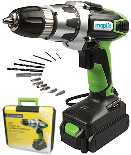 Lithium-Ion Cordless Drill Driver Powerful Screwdriver 18V 0-550 rpm 1300mAh 1.55kg 3-5h Battery Life with 15pc Drill and Bit Set