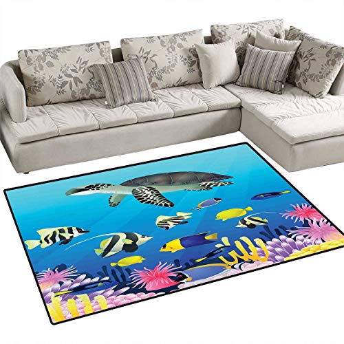 Ocean Area Rugs for Bedroom Turtle Putterfish Clownfish Swimming Subaquatic Tropical Life Fins Seaweed Print Door Mats for Inside Non Slip Backing 48
