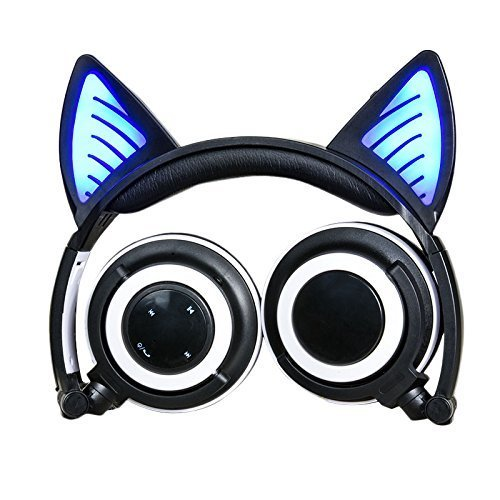Headphones with Bluetooth Microphone Wireless Wired Over Ear Cat Ear Headphones Flashing Glowing Headphones Foldable with LED Flash light for iPhone 7 6S iPad,Android,Mp3,Mp4 player,Gifts for kids.