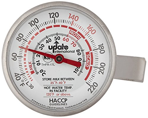 Dial Type Thermometer - Update International THFR-17L Dial Frothing Thermometer with Chip, 8.25