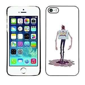 LASTONE PHONE CASE / Carcasa Funda Prima Delgada SLIM Casa Carcasa Funda Case Bandera Cover Armor Shell para Apple Iphone 5 / 5S / Cartoon Character Hands Skinny Man Skull
