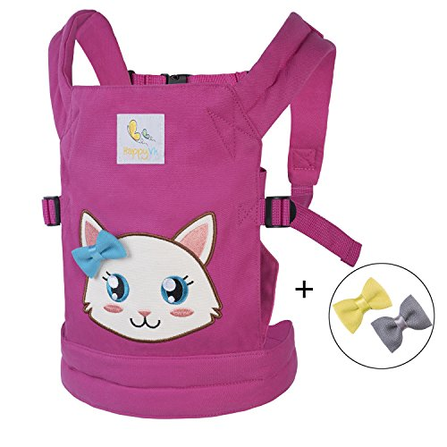 - HappyVk- Baby Doll Carrier for kids- with cute Kitten embroidery and three FREE Bows for it. Fits dolls or stuffed animals up to 24 inches, front and back positions wearing