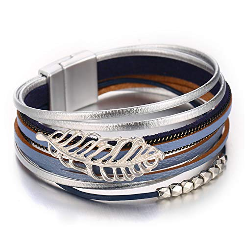 (FAXHION Layered Leaf Leather Bracelet - Silver Blue Magnetic Buckle Beaded Bracelets - Wrap Bracelet for Women)