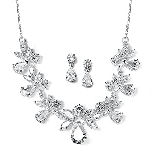 Mariell Multi-Shaped Pear and Marquise Cubic Zirconia Necklace Earring Set on Delicate Chain - Top Seller