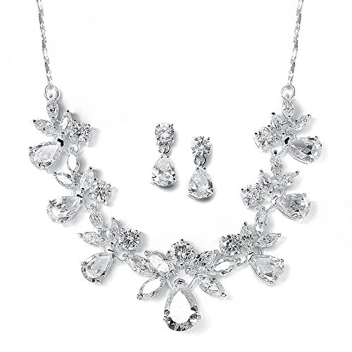 Mariell Multi-Shaped Pear and Marquise Cubic Zirconia Necklace Earring Wedding Jewelry Set for Brides (Cubic Stud Marquise Zirconia)