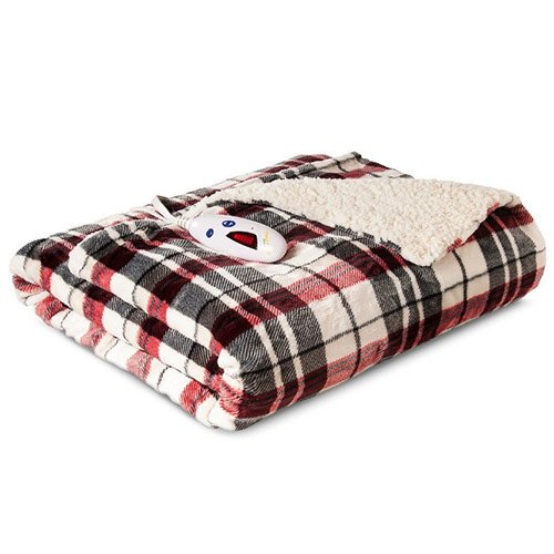 Biddeford-Luxuriously-Soft-Velour-and-Sherpa-Heated-Throw-Blanket/Linen Plaid