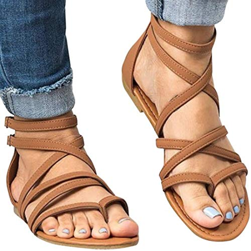 Xiakolaka Womens Flat Sandals,Ankle Strap Gladiator Thong Shoes Brown 36 (Women Sandals For Ankle)