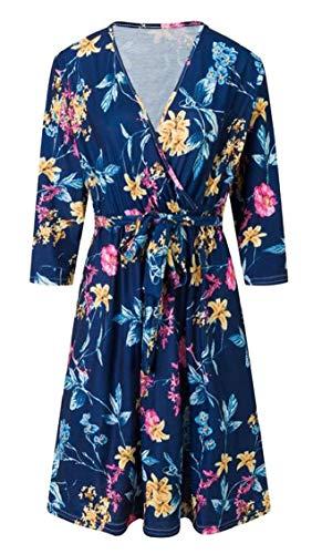 Jaycargogo Womens Casual Col V Ceinturé Manches 3/4 Imprimé Floral Robe Midi 5