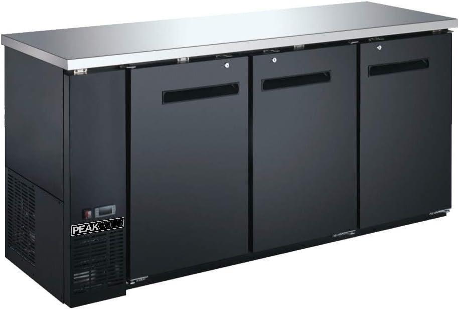 "PEAK COLD 3 Door Commercial Back Bar Cooler - Beer Fridge - Under Counter Refrigerator; 72"" W"