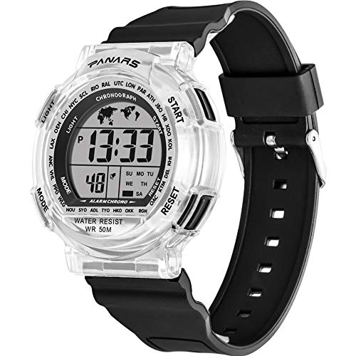 Sports Watch for Men,Multi-Functions Waterproof Digital Watch with 7 Colors Backlight (Black)