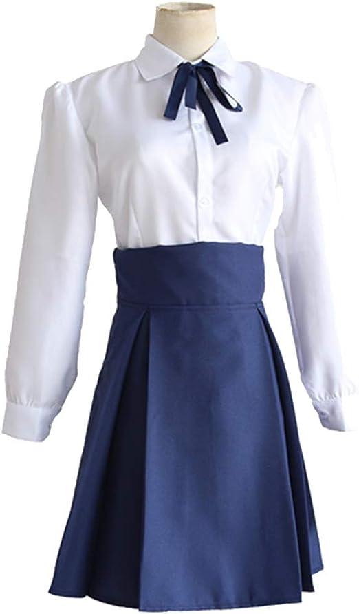 YKJ Anime Cosplay Disfraz Camisa Blanca Falda Azul Juego Disfraz Halloween Juego Completo,Full Set-L: Amazon.es: Hogar