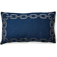 "Safavieh Pillow Collection Sibine Throw Pillows (Set of 2), 12"" x 20"", Blue"