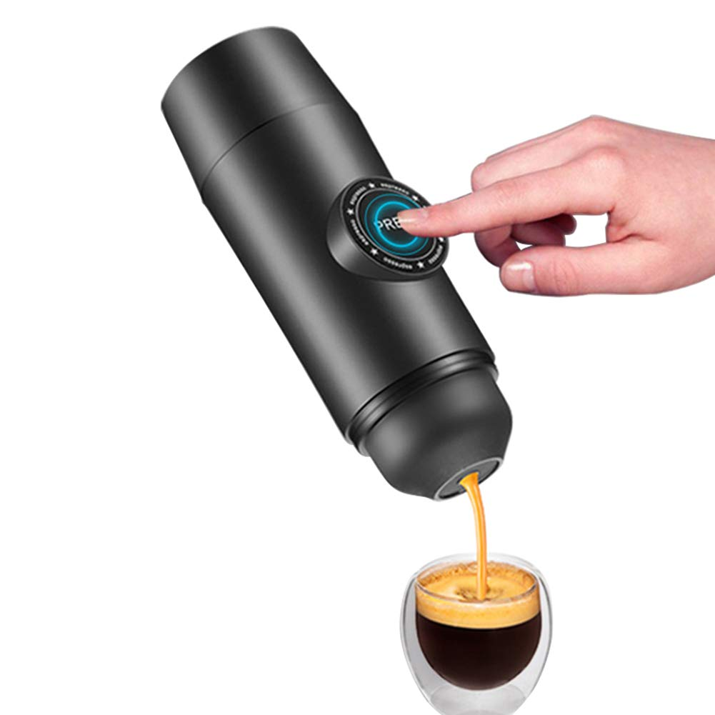 OMZBM Upgraded Chargeable 2-in-1 Portable Electric Coffee Mechine Mini Espresso Coffee Maker Built-in Battery Hot Extraction Powder&Capsule Outdoor Travel,Black by OMZBM (Image #1)