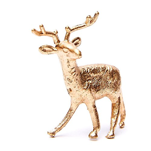 Factory Direct Craft Group of 12 Plastic Standing Gold Deer for Christmas Villages and Everyday Crafting (2 1/2 Inch)