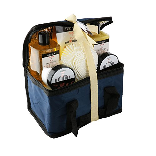 Spa Life All Natrual Bath and Body Luxury Spa Gift Set Basket (Mens Sandalwood)