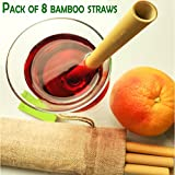 Pack of 8 Natural Bamboo Drinking Straws, 100% Organic, Eco Friendly Alternative to Plastic, Biodegradable & Reusable, Hand-Crafted, BPA Free, Non-Toxic Set 9'' + Cleaning Brush in Linen Custom Bag