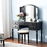Merax Vanity Set Make Up Table and Stool Set (Black)