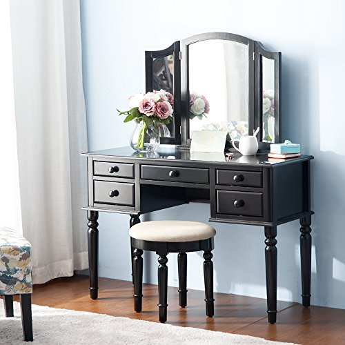 Merax vanity set w stool make up dressing table bedroom dressing table white good deals today - White vanity dressing table ...