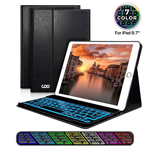 iPad Keyboard Case 9.7 for New iPad 2018 (6th Gen) - iPad Pro 2017 (5th Gen) - iPad Air 2/1, 7 Color Backlight Keyboard with Wireless Bluetooth, Magnetic Cover with Apple Sleep/Wake (Black) ()
