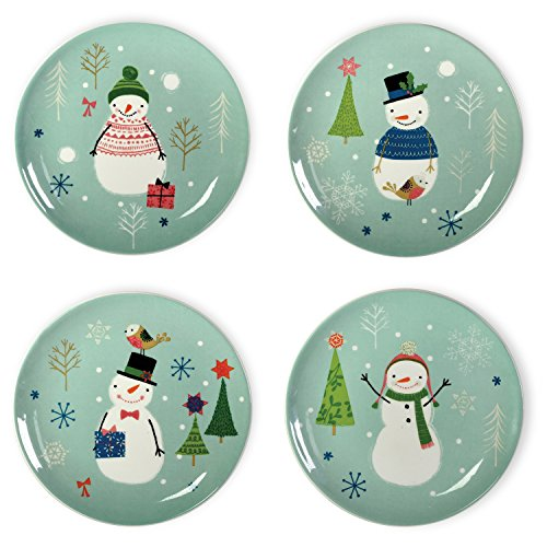 Celebrate the Home Christmas Ceramic Plates, Small, Sweaterific, 4-Piece -