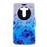 SZYT Phone Case for LG G3, 5.5 inch, PU Leather Flip Cover with Business Card Slot S-view Design, Blue Dandelion