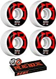 Bones Wheels 54mm STF V3 Annuals White Skateboard Wheels - 103a with Bones Bearings - 8mm Bones Reds Precision Skate Rated Skateboard Bearings (8) Pack - Bundle of 2 Items