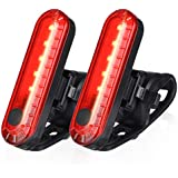 Ascher USB Rechargeable LED Bike Tail Light 2 Pack, Bright Bicycle Rear Cycling Safety Flashlight, 330mah Lithium Battery, 4 Light Mode Options, Water Resistant IPX4(2 USB Cables Included)