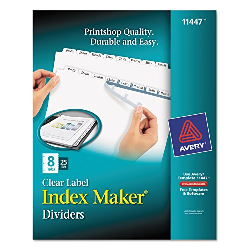 Avery Index Maker Clear Label Dividers, 8 Tab, 25 Sets (11447) Avery Index Maker White Dividers