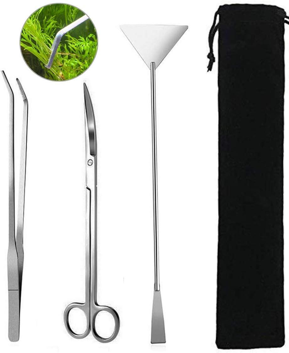Goodn - Set di strumenti per la pulizia e la manutenzione dell'acquario, 5 pezzi, con pinzette e forbici per piante vive ed alghe