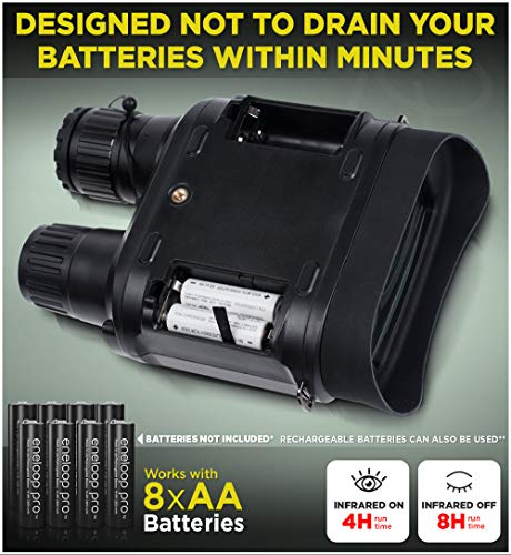"CreativeXP Digital Night Vision Binoculars for 100% Darkness - Save Photos & Videos - 7x31 mm Infrared Spy Gear for Hunting & Surveillance - 4"" Large Screen & 1300ft Viewing Range (NV Binoculars)"