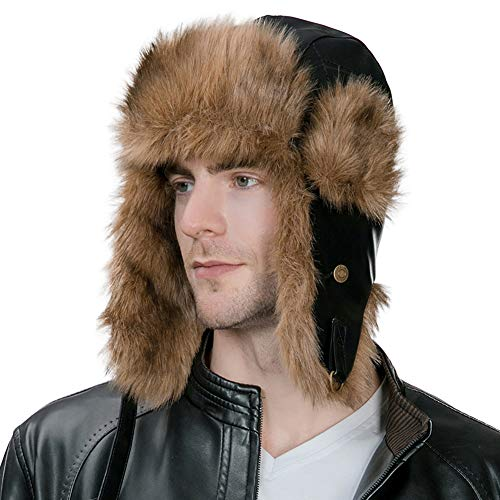 - Mens Winter Trapper Hunting Hat Ear Flaps Faux Leather Fur Russian Ushanka Cold Weather Ski Bomber Women Black