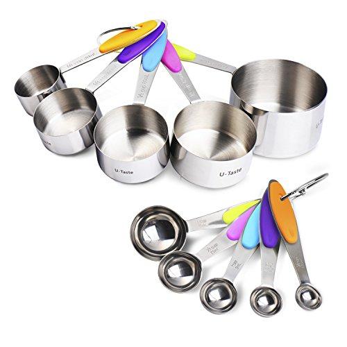 U-Taste 10 Piece Measuring Cups and Spoons Set in Stainless Steel