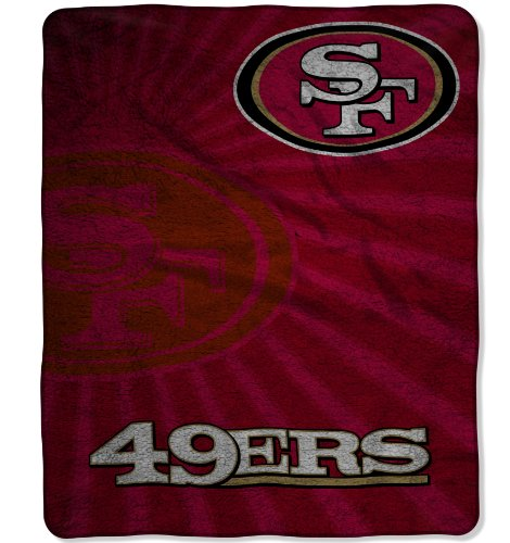 Officially Licensed NFL San Francisco 49ers Strobe Sherpa on Sherpa Throw Blanket, 50' x 60'