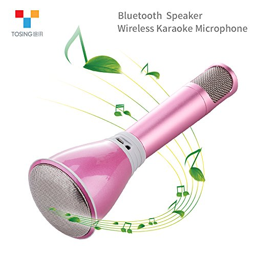 TOSING K068 Wireless Karaoke Microphones Bluetooth Speaker Portable KTV Player Mini Home KTV Music Playing and Singing Machine System for iPhone/Android Smartphone/Tablet (pink) (Telephone Number For Amazone)