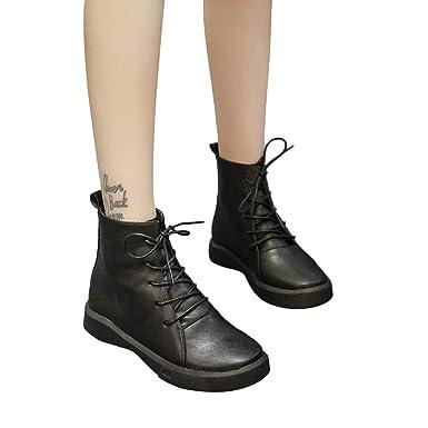Zapatos De Mujer,RETUROM Botas De Mujer Botines Mujer Invierno OtoñO Negro Plano Pierna Alta
